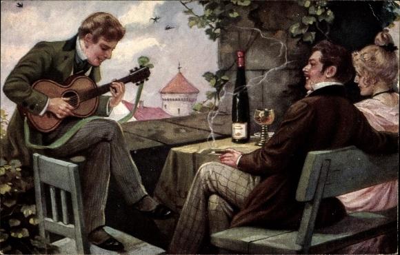 Künstler Ak Borrmeister, R., Ein frohes Lied, Liebespaar, Mann spielt eine Gitarre