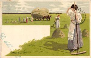 Künstler Litho Mailick, Feldarbeiter, Strohernte, Meissner & Buch 1035