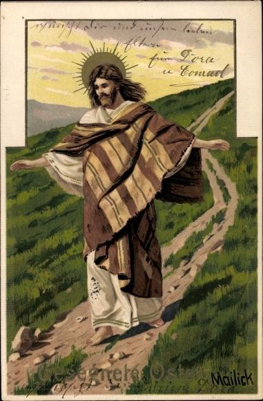Relief Künstler Litho Mailick, Glückwunsch Ostern, Jesus Christus