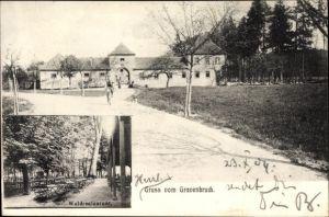 Ak Gravenbruch Neu Isenburg im Kreis Offenbach Hessen, Waldrestaurant, Teilansicht der Ortschaft