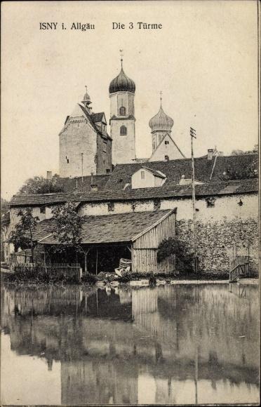 Ak Isny im Allgäu Baden Württemberg, Die drei Türme