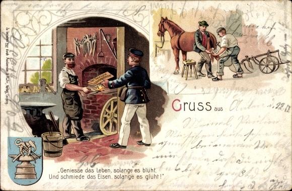Litho Hufschmied in seiner Werkstatt, Postbote bringt Ausgabe Der deutsche Schmiedemeister
