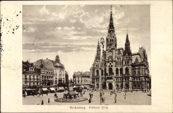 Ak Liberec Reichenberg Stadt, Altstädter Platz, Rathaus