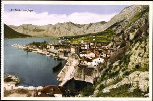 Ak Cattaro Kotor Montenegro, Sa juga, Vogelschau auf den Ort