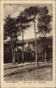 Ak Liberec Reichenberg Stadt, Blick gegen den Volksgarten