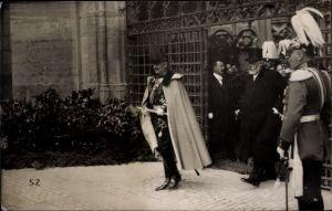 Ak Schweiz, Kaiser Wilhelm II. auf Staatsbesuch, Uniform, Marschallstab, Präsident Forrer