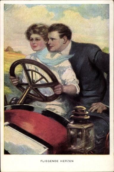 Künstler Ak Underwood, Fliegende Herzen, Liebespaar im Auto, Frau am Steuer, M. Munk, Nr. 742 D