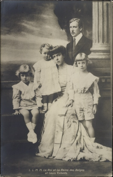 Ak König Albert I. von Belgien, Königin Elisabeth Gabriele von Belgien, Kinder