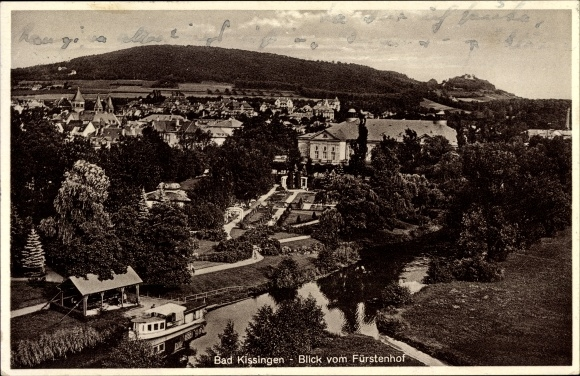 Ak Bad Kissingen Unterfranken Bayern, Blick auf Stadt vom Fürstenhof