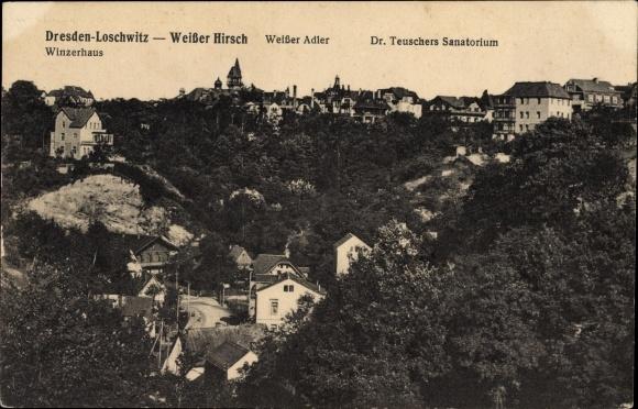 Ak Dresden Nordost Loschwitz, Weißer Hirsch, Weißer Adler, Dr. Teuschers Sanatorium, Winzerhaus