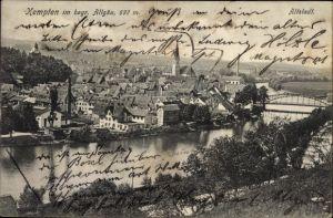 Ak Kempten im Allgäu Schwaben, Blick auf die Altstadt, Flusspartie