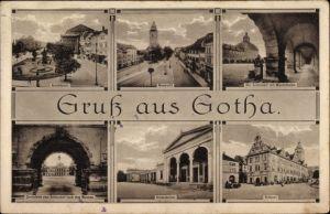Ak Gotha im Thüringer Becken, Arnoldiplatz, Neumarkt, Schlosshof, Wandelhalle, Krematorium, Rathaus