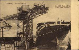 Ak Hamburg, Kuhwerder Hafen, Der größte Kran und das größte Schiff der Welt, Werft Blohm & Voss