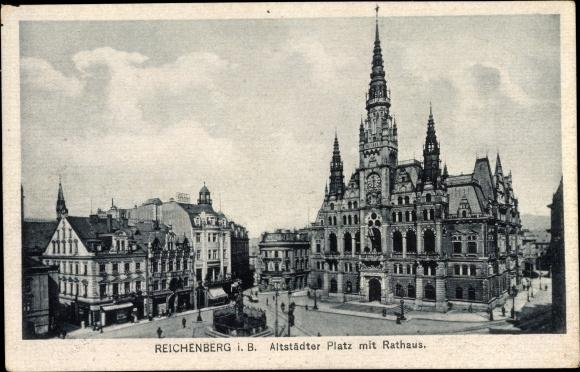 Ak Liberec Reichenberg Stadt, Altstädter Platz mit Rathaus