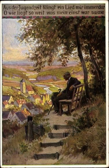 Lied Ak Hey, Paul, Volksliederkarte Nr. 69, Aus der Jugendzeit, alter Mann auf einer Bank sitzend