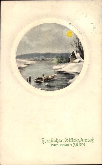 Präge Passepartout Ak Glückwunsch Neujahr, Zwei Ruderboote auf einem Fluss, Mondschein