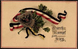 Wappen Litho Durch Kampf zum Sieg, Patriotik Kaiserreich, Eichenlaub