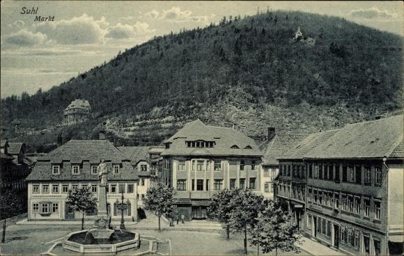 Ak Suhl in Thüringen, Partie am Marktplatz, Mohren Apotheke, Inh. Richard Stier
