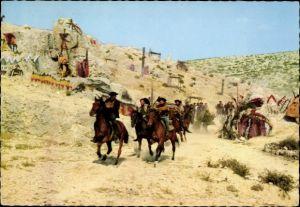 Ak Szene aus dem Film Unter Geiern, Schauspieler, Pferde, Indianer, Rialto, Constantin