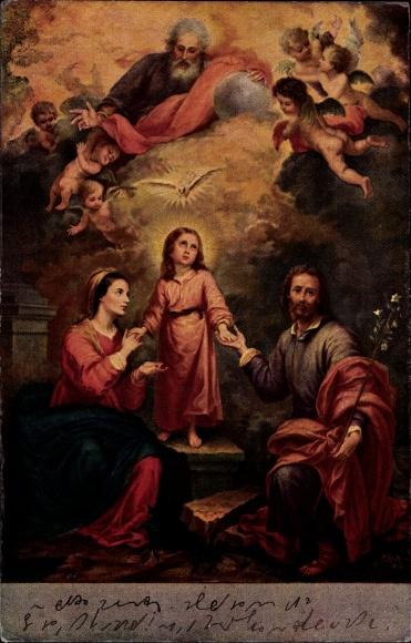 Künstler Ak Murillo, Die heilige Familie, Jesus, Maria, Josef