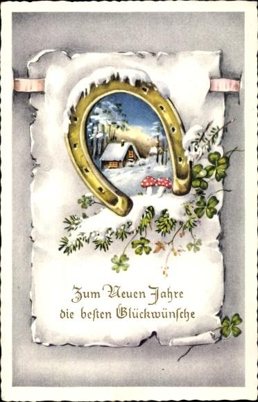 Ak Glückwunsch Neujahr, Hufeisen, Kleeblätter, Fliegenpilze