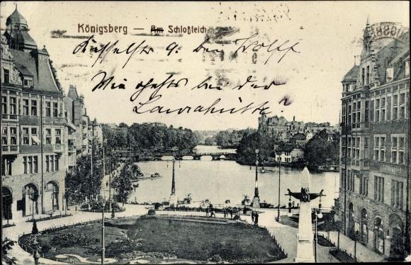 Schlossteich Mit Bogenschütze Ak Kaliningrad Königsberg Ostpreußen 1985654