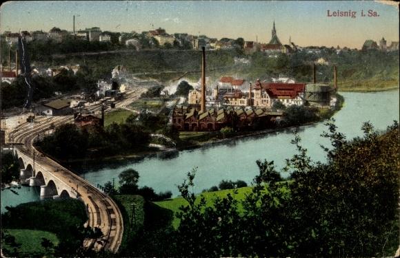 Ak Leisnig an der Freiberger Mulde Sachsen, Teilansicht der Stadt, Fabrik, Gleise