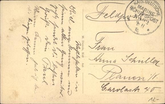 Ak Schiffspoststempel Marineschiffspost Nr. 92, Großer Kreuzer Kaiserin Augusta, SMS Nassau