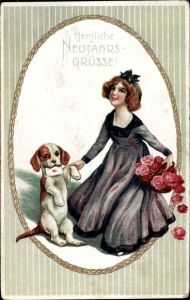 Präge Litho Glückwunsch Neujahr, Frau mit Rosenblüten, Hund, Briefumschlag