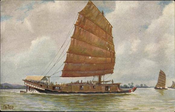 Künstler Ak Rave, Chr., Marinegalerie Nr 12, Passagierboot auf dem Kantonfluss, China