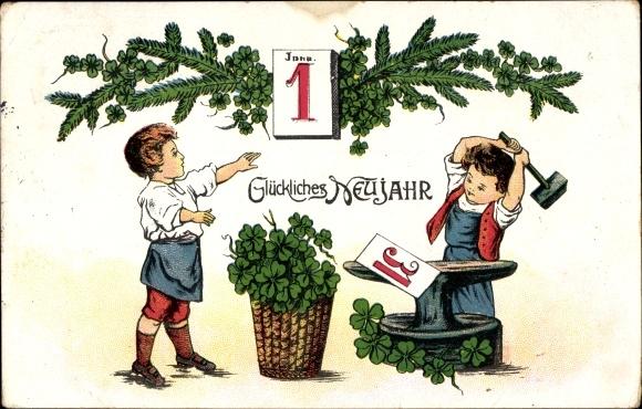 Ak Glückwunsch Neujahr, Kalender, Kleeblätter, Amboss, Kind als Schmied