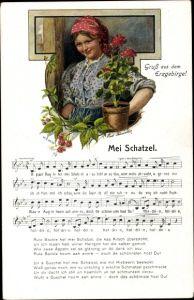 Lied Ak Vogel, Wilhelm, Mei Schatzel, Blumentopf, Gruß aus dem Erzgebirge, Tracht
