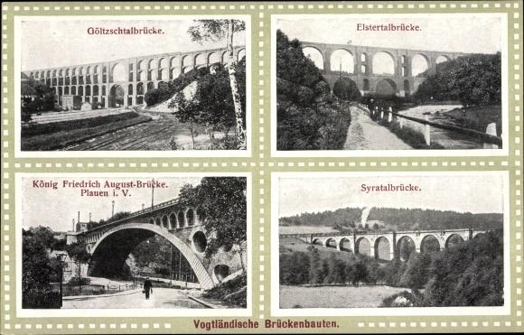 Ak Plauen im Vogtland, Göltzschtalbrücke, Elstertalbrücke, Syratalbrücke, König Fr. Aug. Brücke