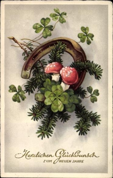 Ak Glückwunsch Neujahr, Hufeisen, Fliegenpilze, Kleeblätter