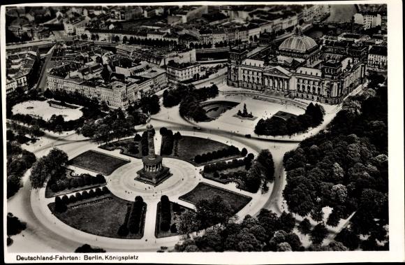 Foto Berlin Tiergarten, LZ 127, Graf Zeppelin, Blick vom Luftschiff aus, Siegessäule, Reichstag