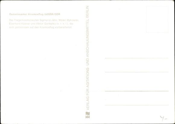 Ak Fliegerkosmonauten Sigmund Jähn, Waleri Bykowski, Eberhard Köllner, Viktor Gorbatko, Kosmosflug 1