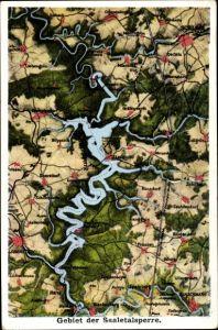 Landkarten Ak Saalburg Ebersdorf in Thüringen, Gebiet der Saaletalsperre, Künsdorf, Oschitz, Schleiz
