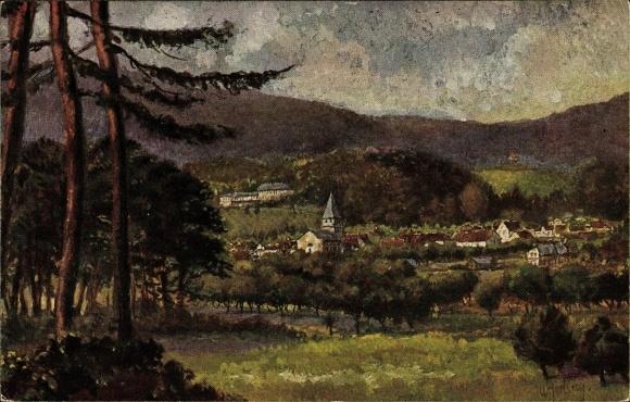 Künstler Ak Gerling, Seeheim Jugenheim in Hessen, Ortschaft mit Landschaftsblick