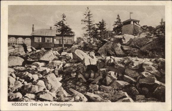 Ak Wunsiedel im Tal der Röslau Oberfranken, Gipfel der Kösseine im Fichtelgebirge