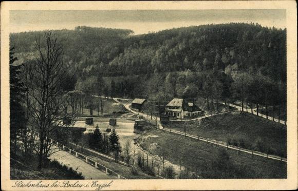 Ak Zschorlau im Erzgebirge, Talblick auf das Rechenhaus, Wehr des Flössgrabens