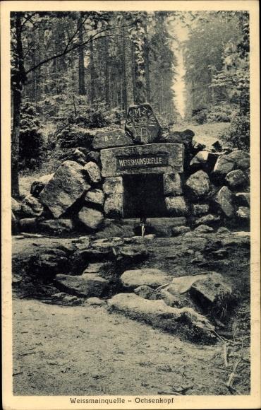 Ak Fichtelberg im Fichtelgebirge Oberfranken Bayern, Weißmainquelle und Ochsenkopf