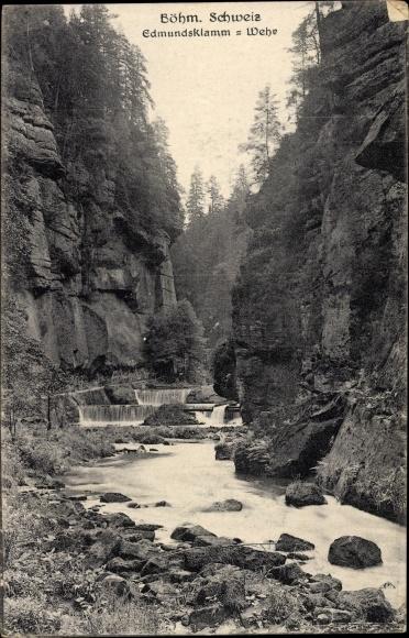 Ak Hřensko Herrnskretschen Elbe Reg. Aussig, Edmundsklamm, Wehr