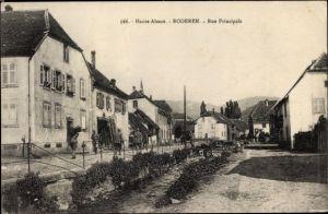 Ak Roderen Elsass Haut Rhin, Rue principale, Hauptstraße, Straßenpartie