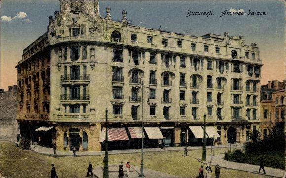 Ak București Bukarest Rumänien, Athenée Palace, Straßenansicht