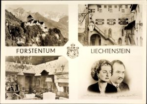 Ak Fürstentum Liechtenstein, Fürst Franz Josef II., Fürstin Gina, Schloss Vaduz