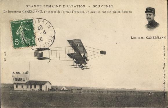 Ak Grande Semaine d'Aviation, Le lieutenant Camermann de l'armee Francaise sur biplan Farman
