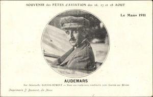Ak Le Mans, Fêtes d'Aviation 26-28 Août 1911, Audemars sur demoiselle Santos Dumont