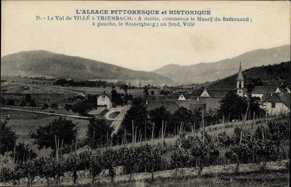 Ak Triembach Elsass Bas Rhin, Vue de la ville, Blick auf Ortschaft und Weinberg