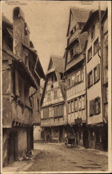 Ak Strasbourg Straßburg Elsass Bas Rhin, Bain aux Plantes, Partie am Pflanzbad
