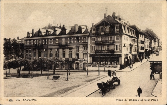 Ak Saverne Zabern Elsass Bas Rhin, Place du Chateau et Grand'Rue